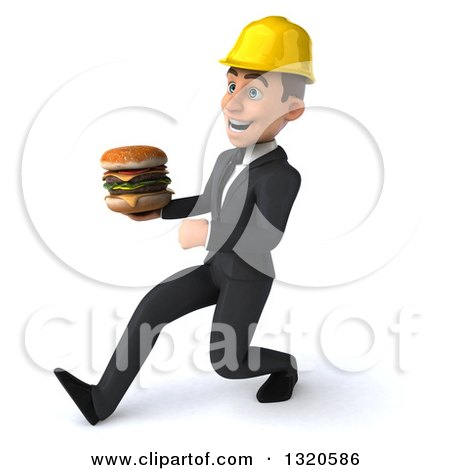 Clipart of a 3d Young White Male Architect Speed Walking to the Left and Holding a Double Cheeseburger - Royalty Free Illustration by Julos