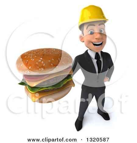 Clipart of a 3d Young White Male Architect Holding up a Double Cheeseburger - Royalty Free Illustration by Julos