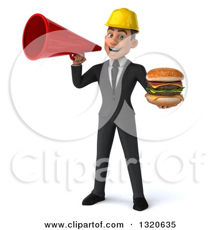 Clipart of a 3d Young White Male Architect Holding a Double Cheeseburger and Announcing with a Megaphone - Royalty Free Illustration by Julos