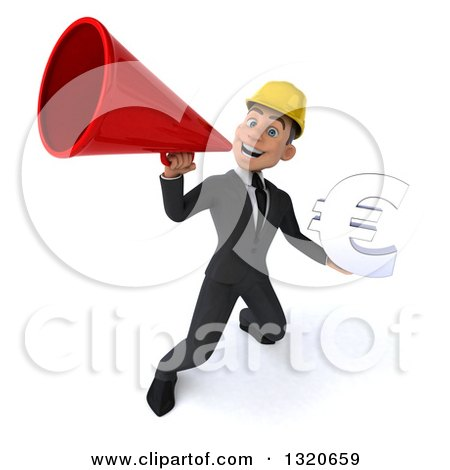 Clipart of a 3d Young White Male Architect Holding a Euro Symbol and Announcing with a Megaphone 2 - Royalty Free Illustration by Julos