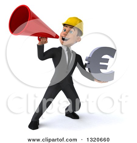 Clipart of a 3d Young White Male Architect Holding a Euro Symbol and Announcing with a Megaphone - Royalty Free Illustration by Julos