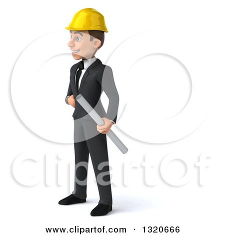 Clipart of a 3d Young White Male Architect Holding Plans, Facing Left - Royalty Free Illustration by Julos