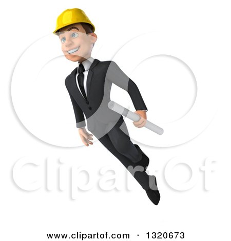 Clipart of a 3d Young White Male Architect Holding Plans and Floating - Royalty Free Illustration by Julos