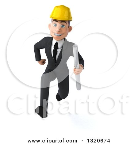 Clipart of a 3d Young White Male Architect Holding Plans and Sprinting - Royalty Free Illustration by Julos