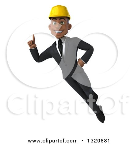 Clipart of a 3d Young Black Male Architect Flying and Holding up a Finger - Royalty Free Illustration by Julos