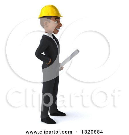 Clipart of a 3d Young Black Male Architect Holding Plans and Facing Right - Royalty Free Illustration by Julos