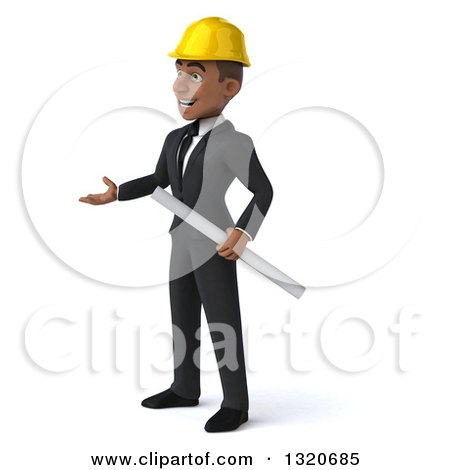 Clipart of a 3d Young Black Male Architect Holding Plans and Presenting to the Left - Royalty Free Illustration by Julos