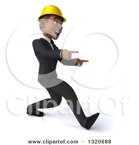 Clipart of a 3d Young Black Male Architect Speed Walking and Pointing to the Right - Royalty Free Illustration by Julos