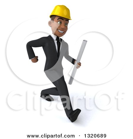Clipart of a 3d Young Black Male Architect Holding Plans and Speed Walking to the Right - Royalty Free Illustration by Julos