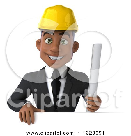 Clipart of a 3d Young Black Male Architect Holding Plans over a Sign - Royalty Free Illustration by Julos