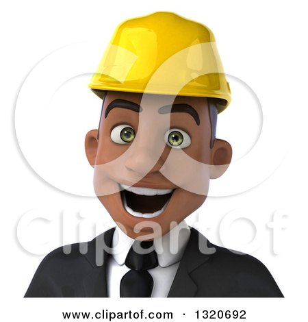 Clipart of a 3d Young Black Male Architect Avatar - Royalty Free Illustration by Julos