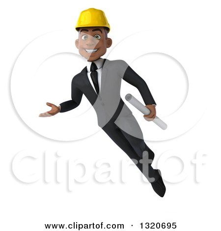 Clipart of a 3d Young Black Male Architect Flying, Presenting and Holding Plans - Royalty Free Illustration by Julos