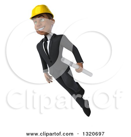 Clipart of a 3d Young Black Male Architect Flying with Plans - Royalty Free Illustration by Julos