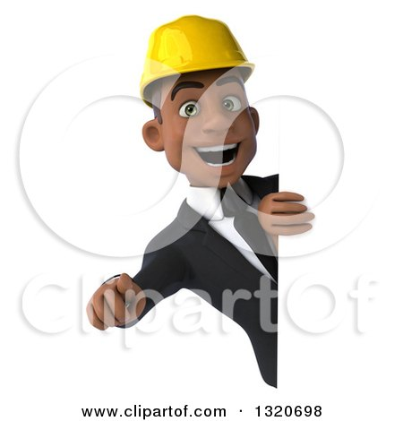 Clipart of a 3d Young Black Male Architect Pointing Outwards Around a Sign - Royalty Free Illustration by Julos