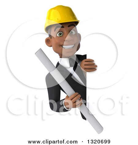 Clipart of a 3d Young Black Male Architect Holding Plans Around a Sign - Royalty Free Illustration by Julos