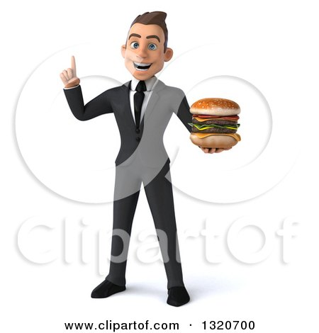 Clipart of a 3d Happy Young White Super Businessman Holding up a Finger and a Double Cheeseburger - Royalty Free Illustration by Julos