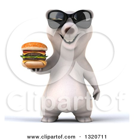 Clipart of a 3d Polar Bear Wearing Sunglasses and Holding a Double Cheeseburger - Royalty Free Illustration by Julos