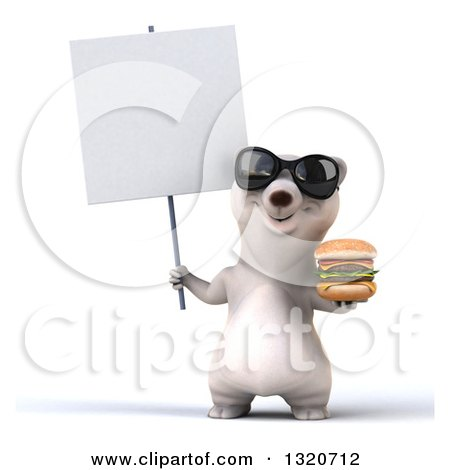 Clipart of a 3d Polar Bear Wearing Sunglasses, Holding a Double Cheeseburger and Blank Sign - Royalty Free Illustration by Julos