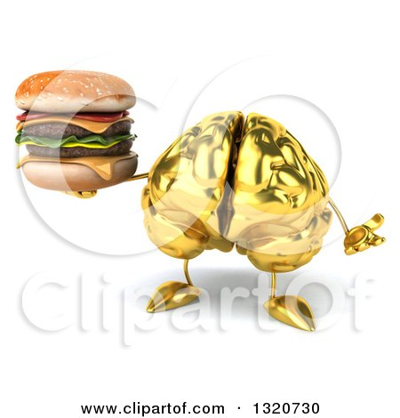Clipart of a 3d Gold Brain Character Shrugging and Holding a Double Cheeseburger - Royalty Free Illustration by Julos