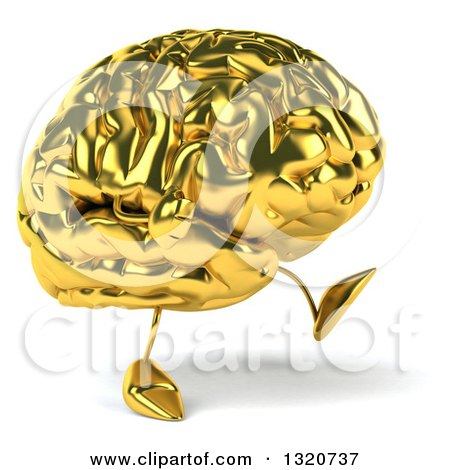 Clipart of a 3d Gold Brain Character Walking to the Right - Royalty Free Illustration by Julos