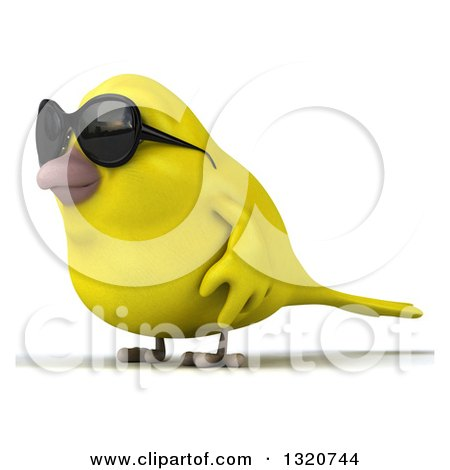 Clipart of a 3d Yellow Bird Wearing Sunglasses and Facing Left - Royalty Free Illustration by Julos