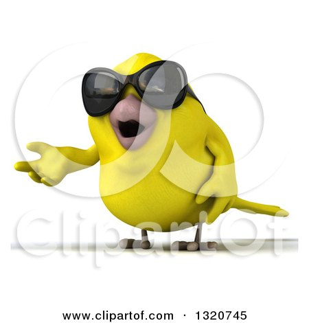 Clipart of a 3d Yellow Bird Wearing Sunglasses and Presenting - Royalty Free Illustration by Julos