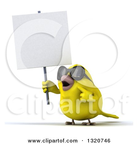 Clipart of a 3d Yellow Bird Wearing Sunglasses, Holding and Pointing to a Blank Sign - Royalty Free Illustration by Julos