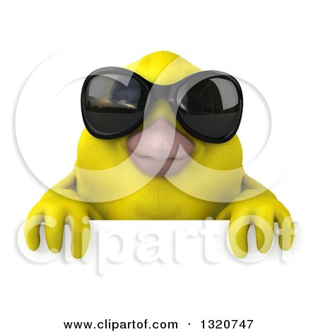 Clipart of a 3d Yellow Bird Wearing Sunglasses over a Sign - Royalty Free Illustration by Julos