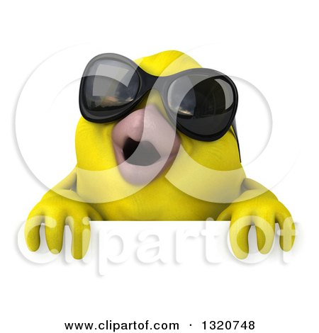 Clipart of a 3d Yellow Bird Wearing Sunglasses over a Sign 2 - Royalty Free Illustration by Julos