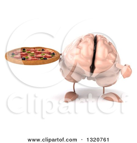 Clipart of a 3d Brain Character Holding and Pointing to a Pizza - Royalty Free Illustration by Julos