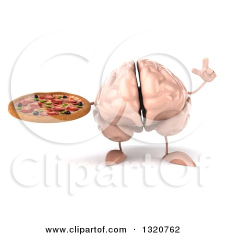 Clipart of a 3d Brain Character Holding up a Finger and a Pizza - Royalty Free Illustration by Julos