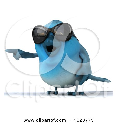 Clipart of a 3d Bluebird Wearing Shades, Pointing Left - Royalty Free Illustration by Julos
