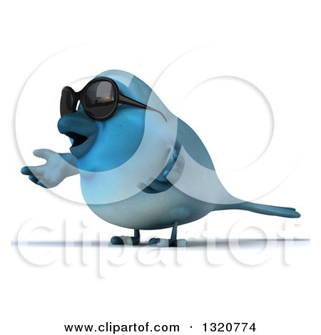 Clipart of a 3d Bluebird Wearing Shades, Facing Left and Shrugging - Royalty Free Illustration by Julos