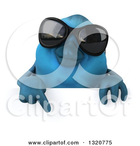 Clipart of a 3d Bluebird Wearing Shades, Pointing down over a Sign - Royalty Free Illustration by Julos