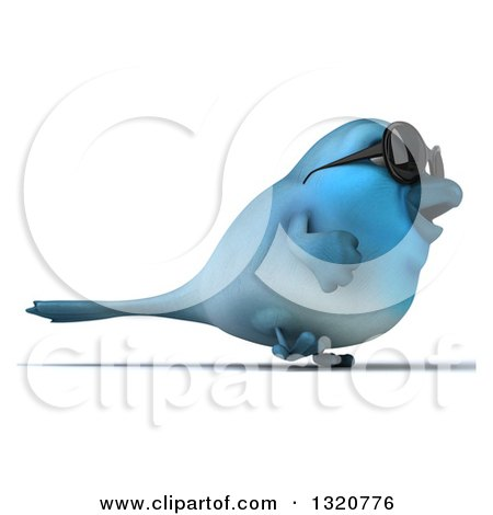 Clipart of a 3d Bluebird Wearing Shades, Walking to the Right - Royalty Free Illustration by Julos