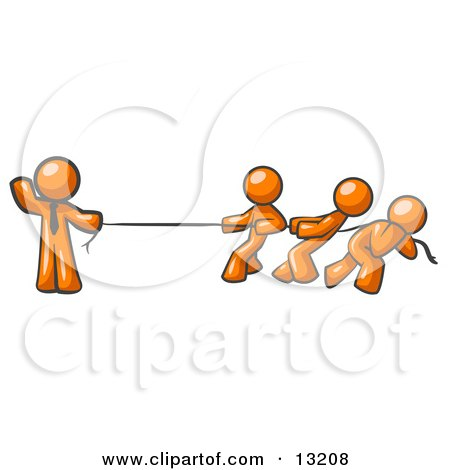 Strong Orange Man Holding One End of Rope While Three Others Pull on the Other Side During Tug of War Posters, Art Prints