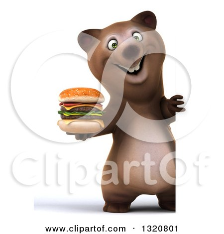 Clipart of a 3d Full Length Happy Brown Bear Holding a Double Cheeseburger Around a Sign - Royalty Free Illustration by Julos