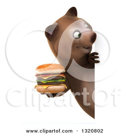 Clipart of a 3d Happy Brown Bear Holding a Double Cheeseburger and Looking Around a Sign - Royalty Free Illustration by Julos