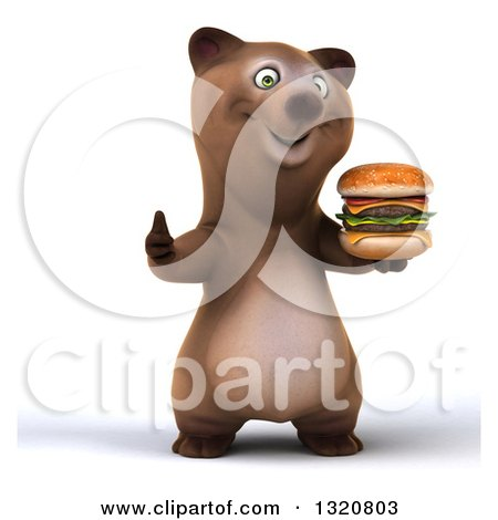 Clipart of a 3d Happy Brown Bear Holding a Double Cheeseburger and Giving a Thumb up - Royalty Free Illustration by Julos