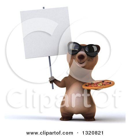 Clipart of a 3d Happy Brown Bear Wearing Sunglasses, Holding a Pizza and Blank Sign - Royalty Free Illustration by Julos