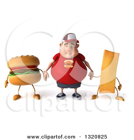 Clipart of a 3d Sad White Chubby Guy in a Red Burger Shirt, Holding Hands with a Hamburger and French Fry - Royalty Free Illustration by Julos