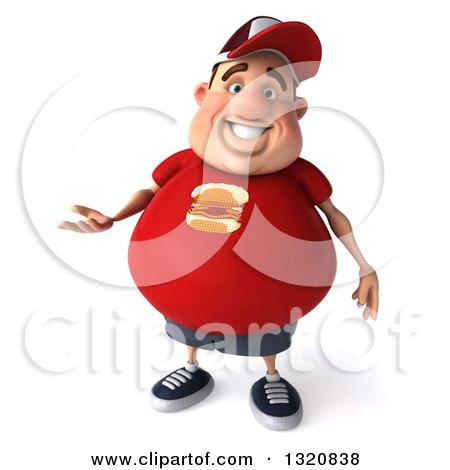 Clipart of a 3d Chubby White Guy in a Red Burger Shirt, Presenting - Royalty Free Illustration by Julos