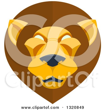 Clipart of a Modern Flat Design Mal Lion Head - Royalty Free Vector Illustration by AtStockIllustration