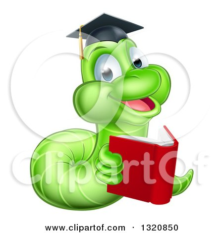 Clipart of a Cartoon Happy Green Graduate Book Worm Reading - Royalty Free Vector Illustration by AtStockIllustration