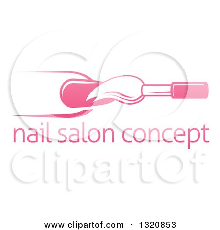 Clipart of a White and Pink Nail Polish Brush and Finger over Sample Text - Royalty Free Vector Illustration by AtStockIllustration