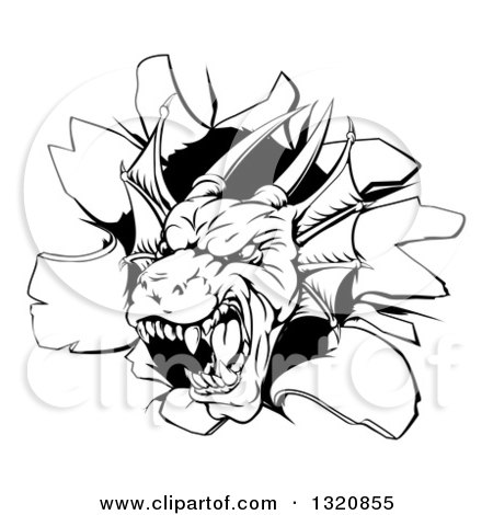 Clipart of a Snarling Black and White Dragon Mascot Head Breaking Through a Wall - Royalty Free Vector Illustration by AtStockIllustration
