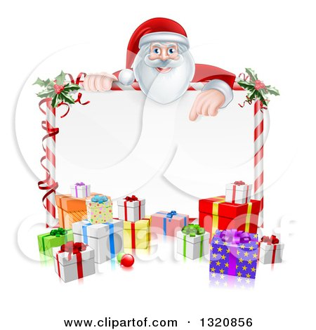 Clipart of a Cartoon Happy Santa Claus Pointing down over a Blank Candy Cane Framed Sign with Christmas Gifts and Holly - Royalty Free Vector Illustration by AtStockIllustration