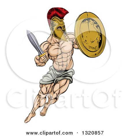 Clipart of a Muscular Spartan Man in a Helmet Fighting and Jumping with a Sword and Shield - Royalty Free Vector Illustration by AtStockIllustration