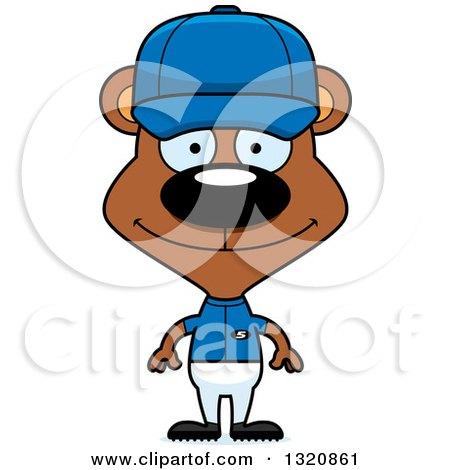 Clipart of a Cartoon Happy Brown Bear Baseball Player - Royalty Free Vector Illustration by Cory Thoman