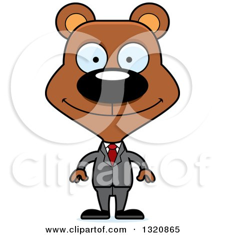 Clipart of a Cartoon Happy Brown Bear Business Man - Royalty Free Vector Illustration by Cory Thoman